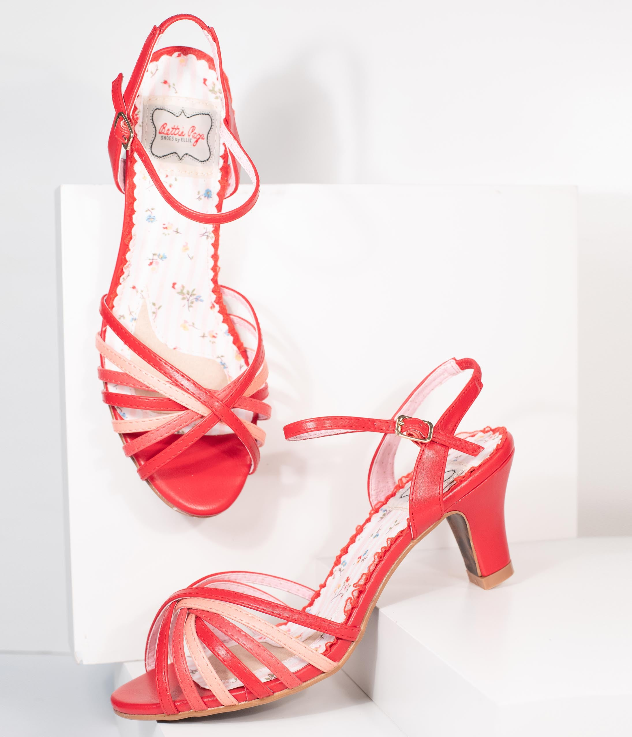 Pin Up Shoes- Heels, Pumps & Flats Bettie Page Red  Pink Strappy Margot Sandals $78.00 AT vintagedancer.com