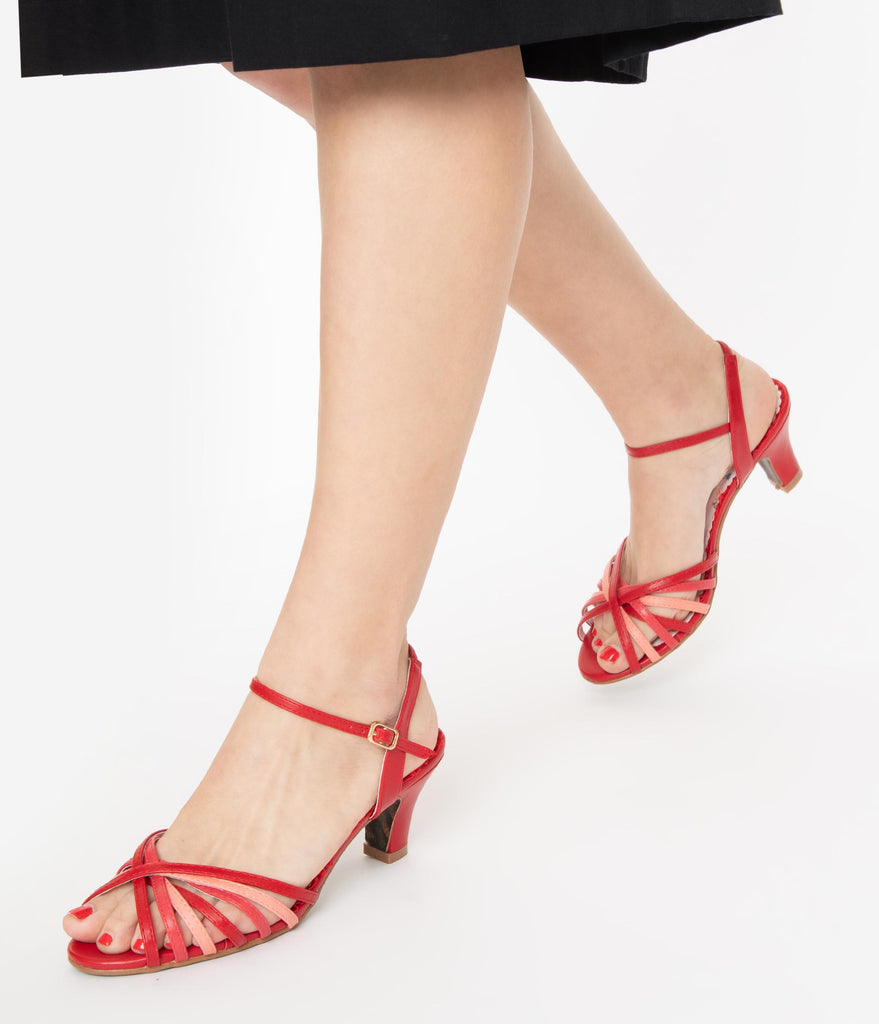 Bettie Page Red & Pink Strappy Margot Sandals