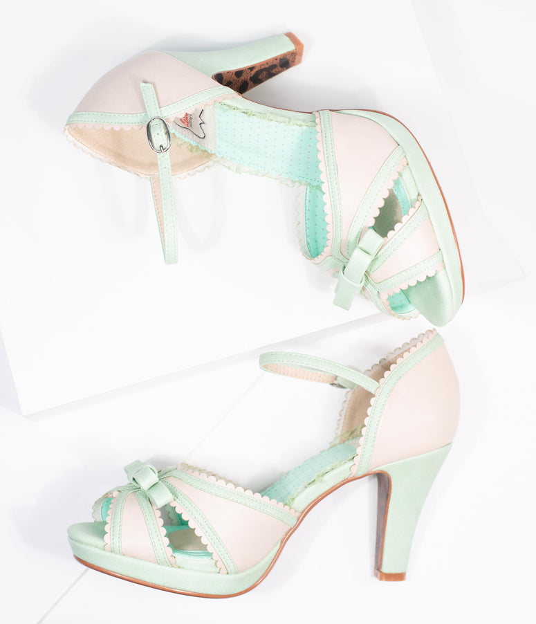 Bettie Page Mint & Beige Peep Toe Sue Heels