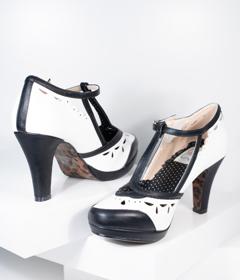 Bettie Page Black & White Leatherette T-Strap Holly Heels