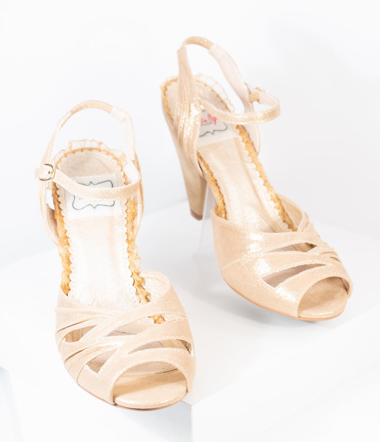 Bettie Page Gold Metallic Peep Toe Maria Heels