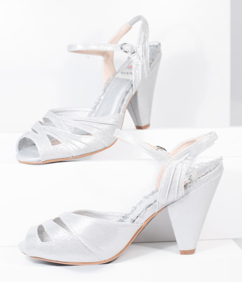 Bettie Page Silver Metallic Peep Toe Maria Heels