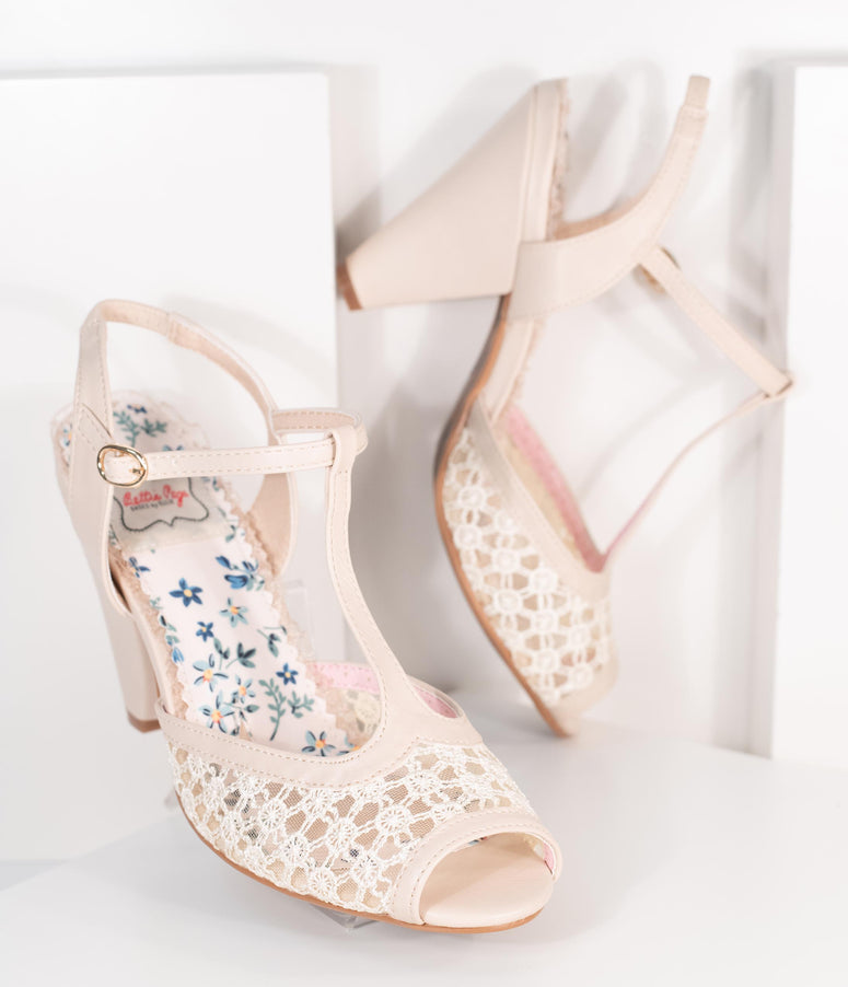 Bettie Page Beige Lace Brooklyn T-Strap Heels