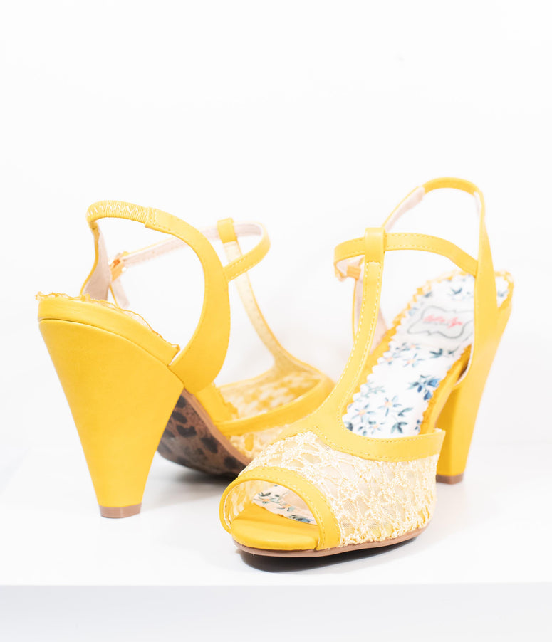 Bettie Page Yellow Lace Brooklyn T-Strap Heels