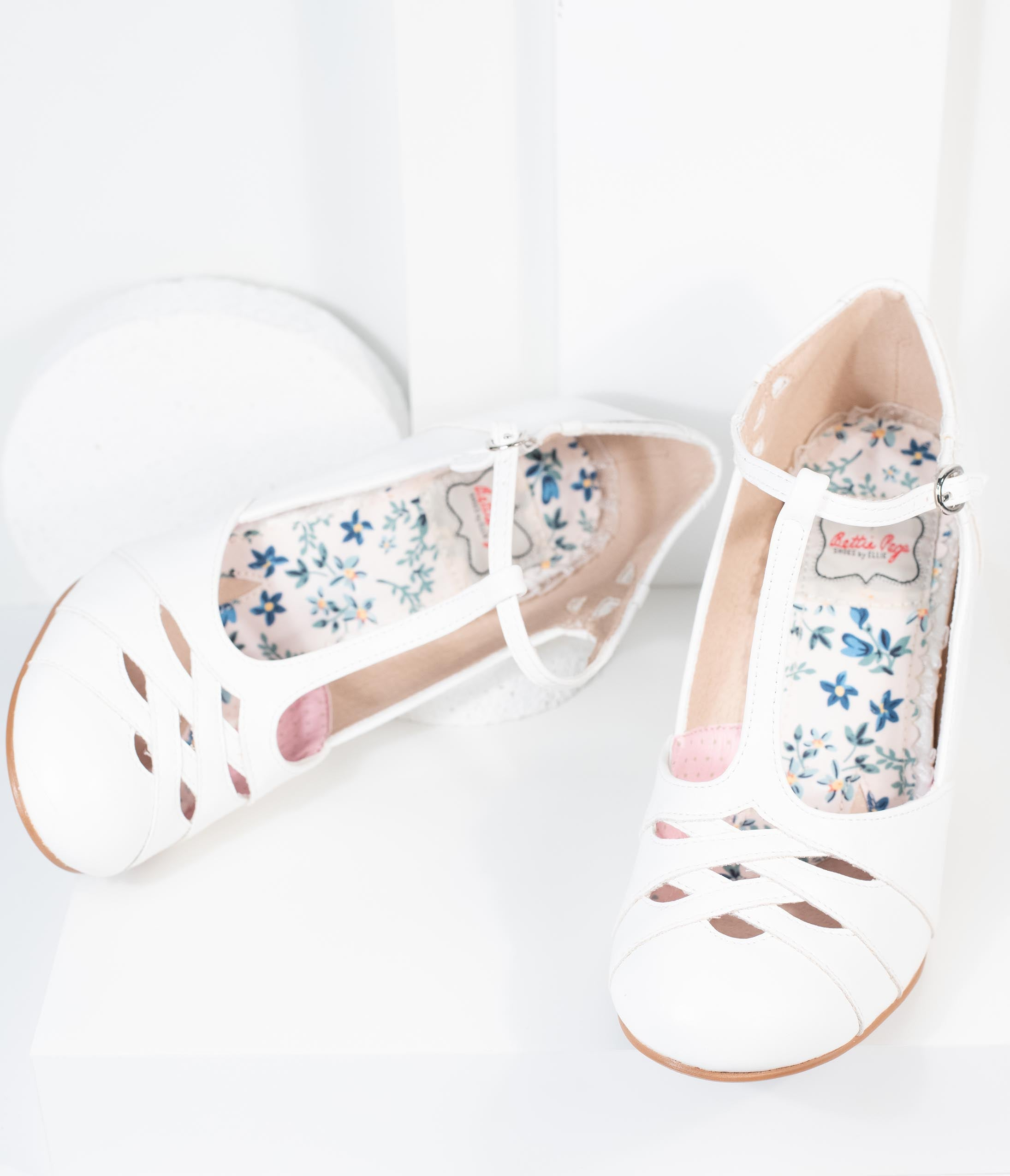 Vintage Sandals | Wedges, Espadrilles – 30s, 40s, 50s, 60s, 70s Bettie Page White Laura T-Strap Heel $88.00 AT vintagedancer.com