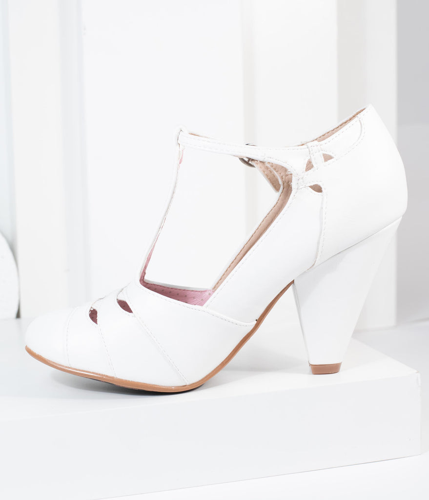 Bettie Page White Laura T-Strap Heel