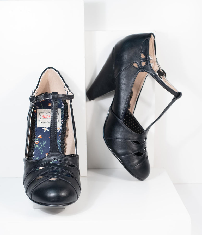 Bettie Page Black Laura T-Strap Heel