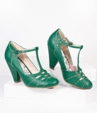 Bettie Page Green Laura T-Strap Heel