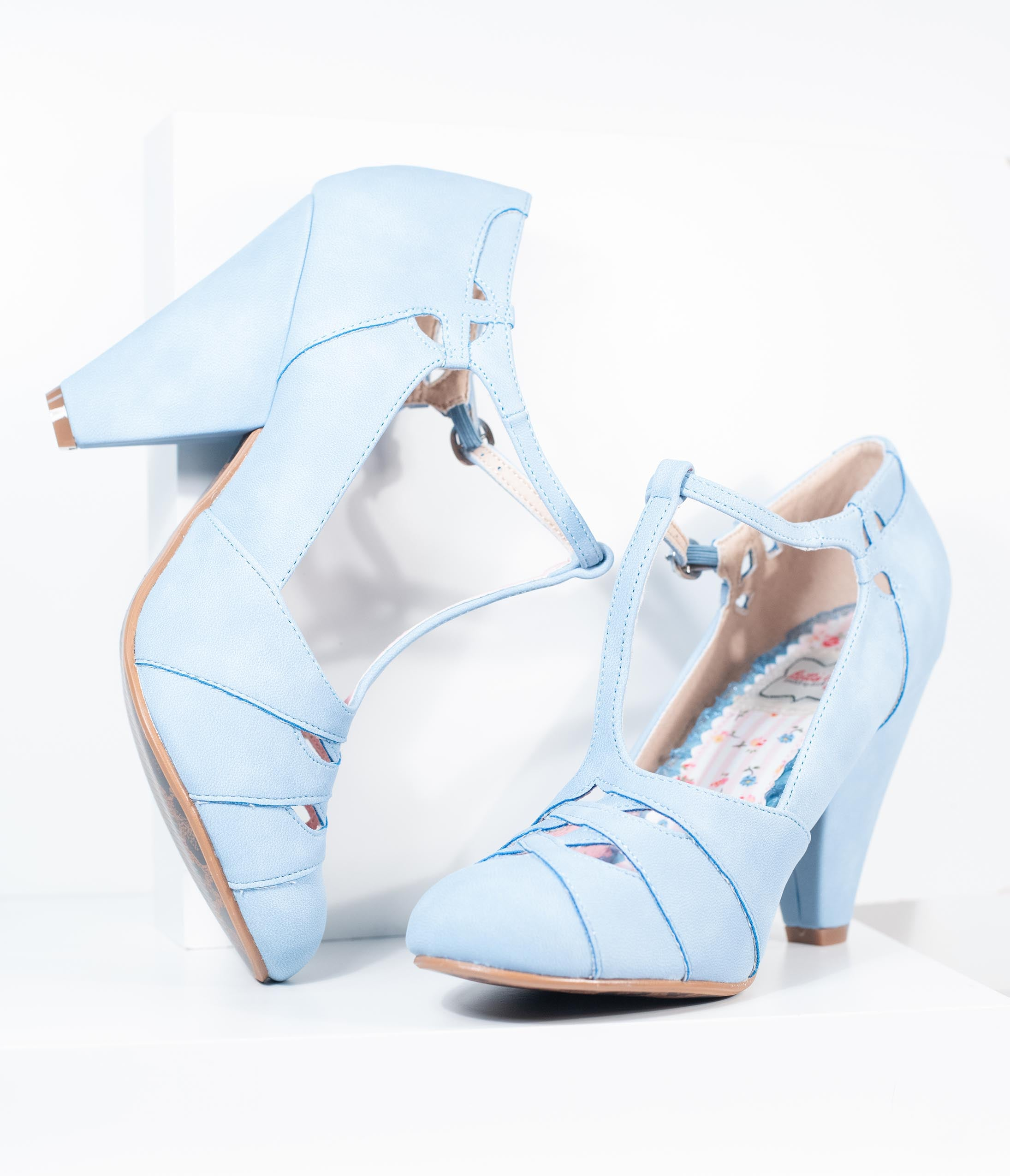 Vintage Heels, Retro Heels, Pumps, Shoes Bettie Page Baby Blue Laura T-Strap Heel $88.00 AT vintagedancer.com