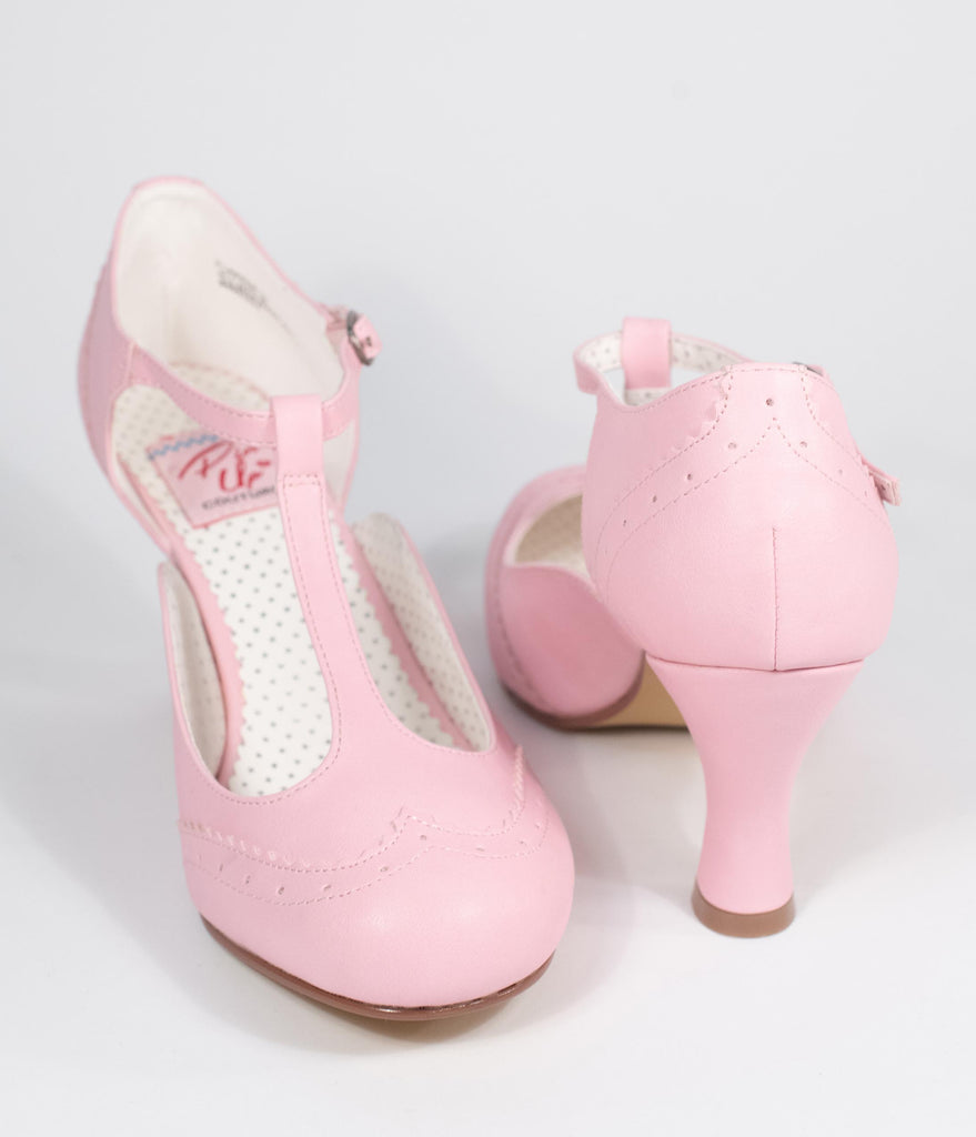 Baby Pink Leatherette T-Strap Mary Jane Heels