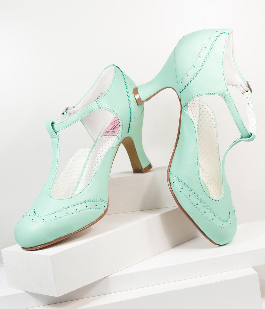 Mint Leatherette T-Strap Mary Jane Heels