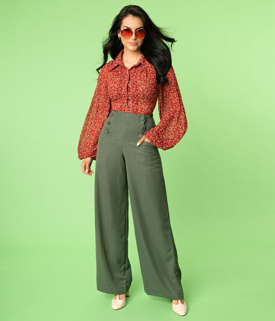 Unique Vintage Olive Wide Leg Rogers Pants