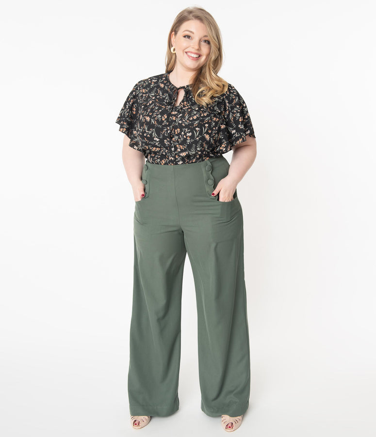 Unique Vintage Plus Size Olive Wide Leg Rogers Pants