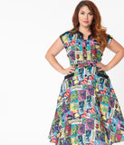 Universal Monsters x Unique Vintage Plus Size Monsterror Print Hedda Swing Dress