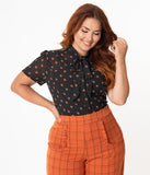 Unique Vintage Plus Size 1940s Black & Orange Pumpkin Patch Elsie Blouse