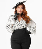 Unique Vintage Plus Size 1950s Ivory & Black Polka Dot Bassey Blouse