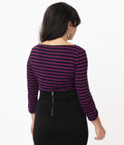 Unique Vintage Purple & Black Stripe Gracie Top