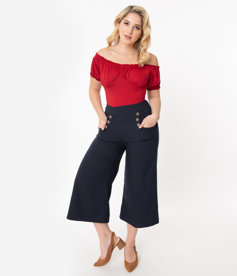 Unique Vintage 1940s Navy Blue Ginger Culottes