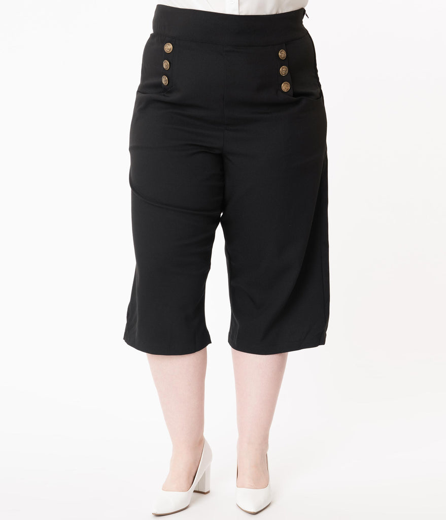 Unique Vintage Plus Size 1940s Black Ginger Culottes