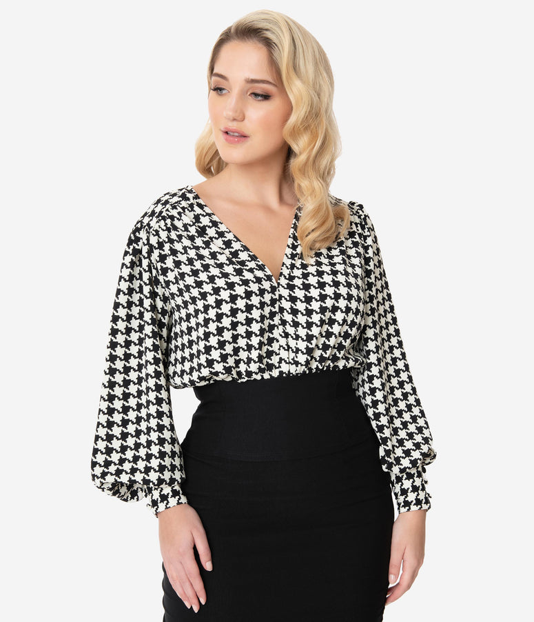 Unique Vintage 1950s Black & White Houndstooth Bassey Blouse