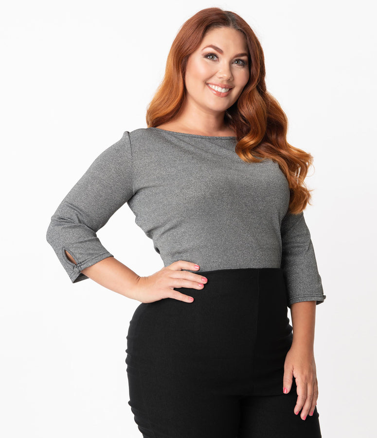 Unique Vintage Plus Size Metallic Gunmetal Gracie Top