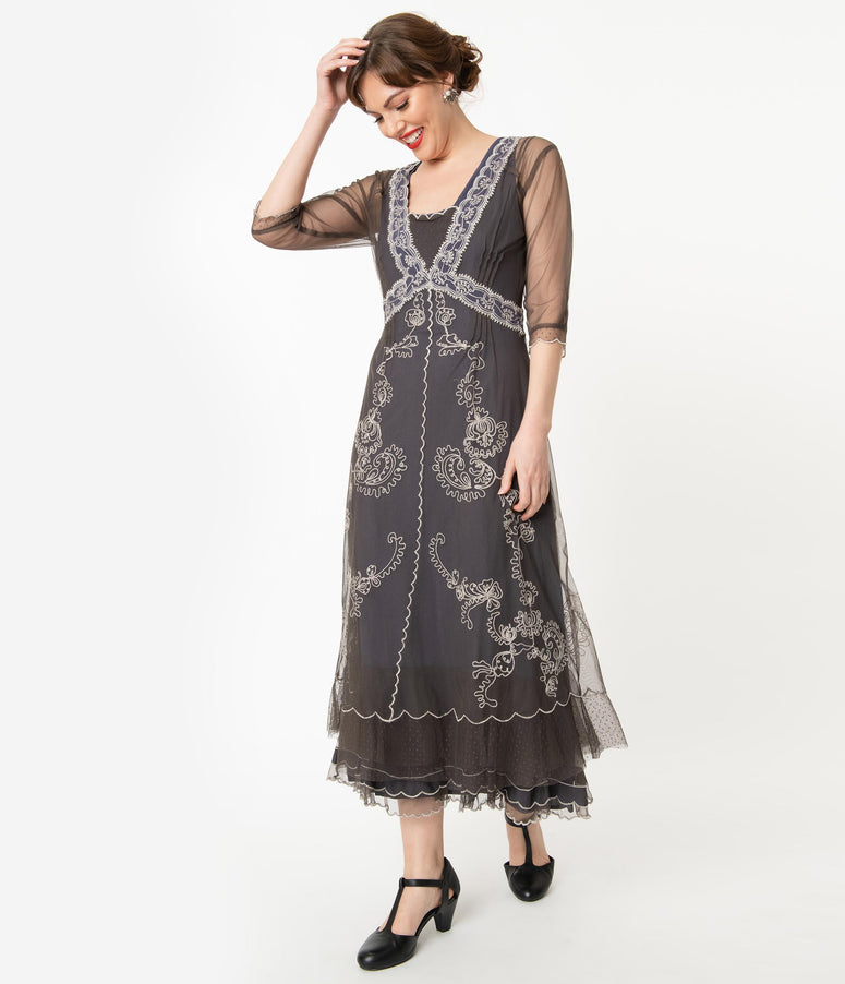 Vintage Style Grey Mesh Embroidered Edwardian Dress