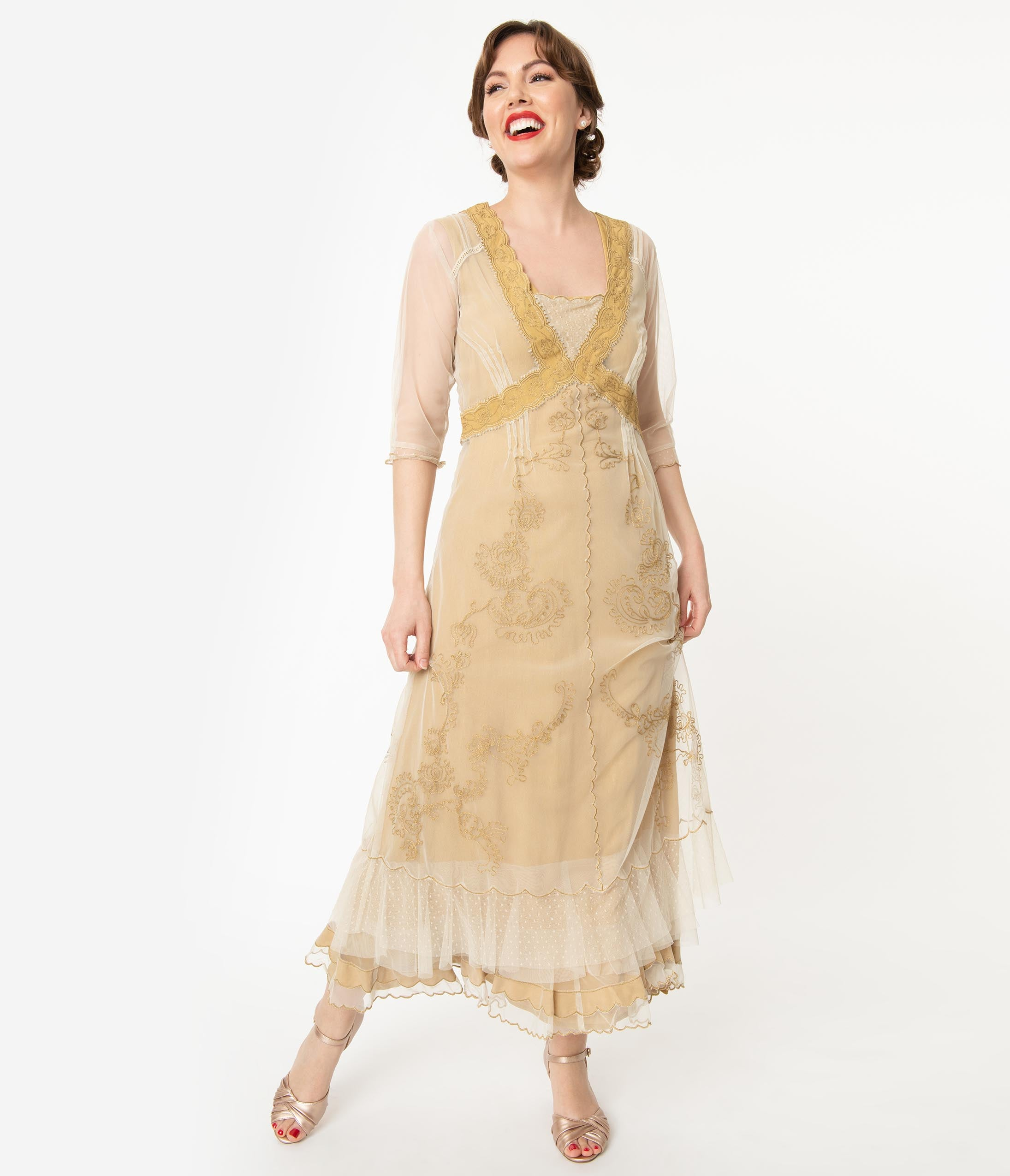 Modest, Mature, Mrs. Vintage Dresses – 20s, 30s, 40s, 50s, 60s Vintage Style Antique Ivory Mesh Embroidered Edwardian Flapper Dress $308.00 AT vintagedancer.com