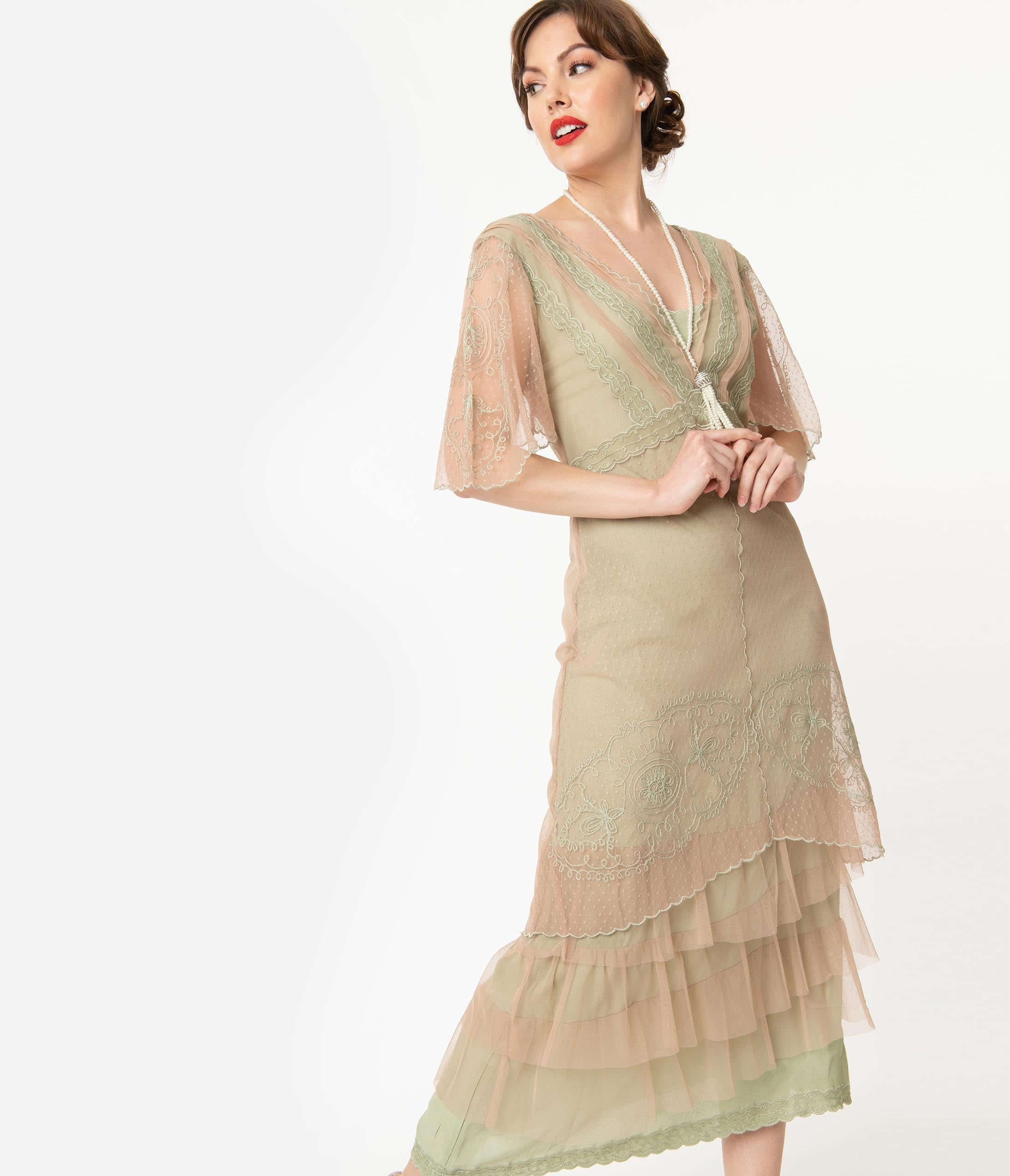 1920s Outfit Ideas: 10 Downton Abbey Inspired Costumes Vintage Style Golden Sage Downton Abbey Edwardian Flapper Dress $288.00 AT vintagedancer.com