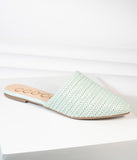 Mint Woven Straw Slip On Mules