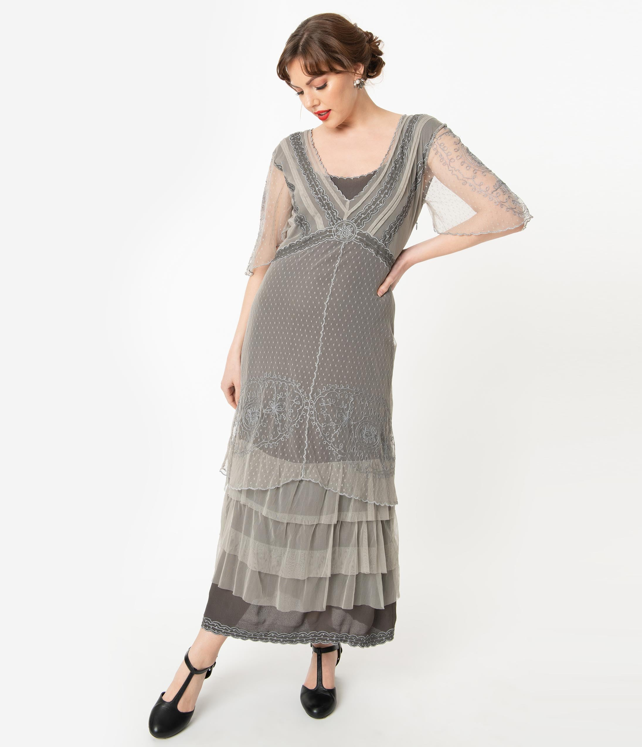1920s Outfit Ideas: 10 Downton Abbey Inspired Costumes Vintage Style Alluring Slate Downton Abbey Edwardian Flapper Dress $288.00 AT vintagedancer.com