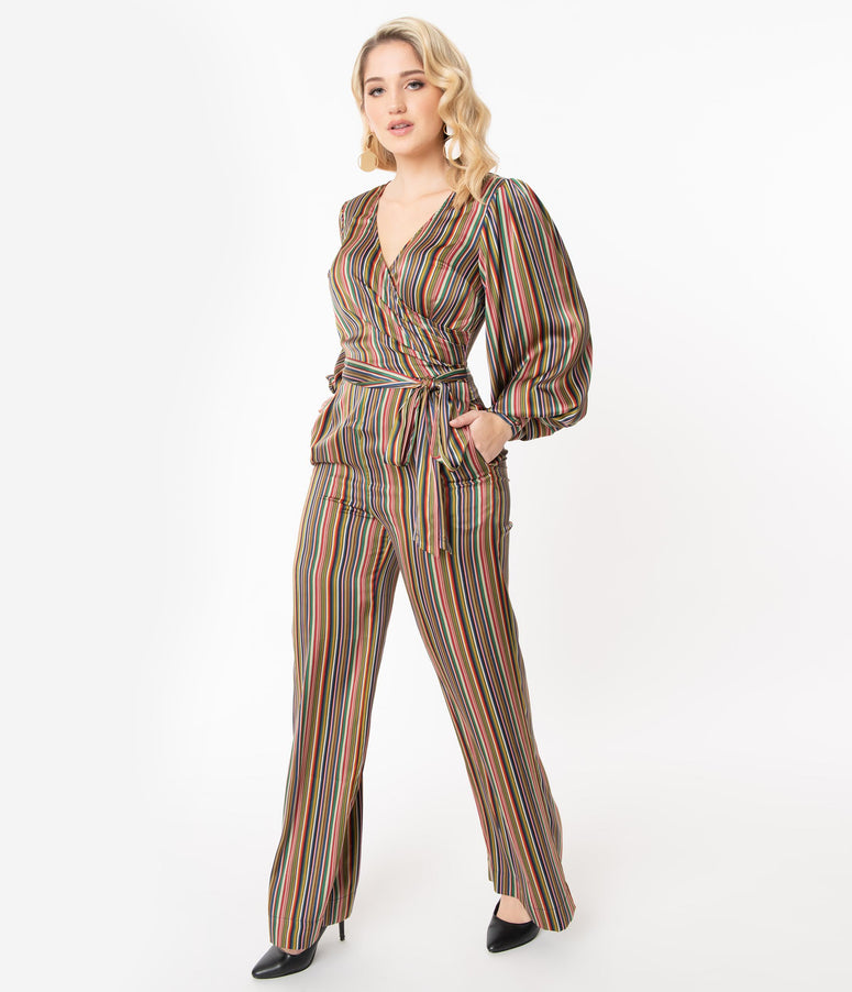 Unique Vintage 1970s Multicolor Stripe Satin Clayton Jumpsuit