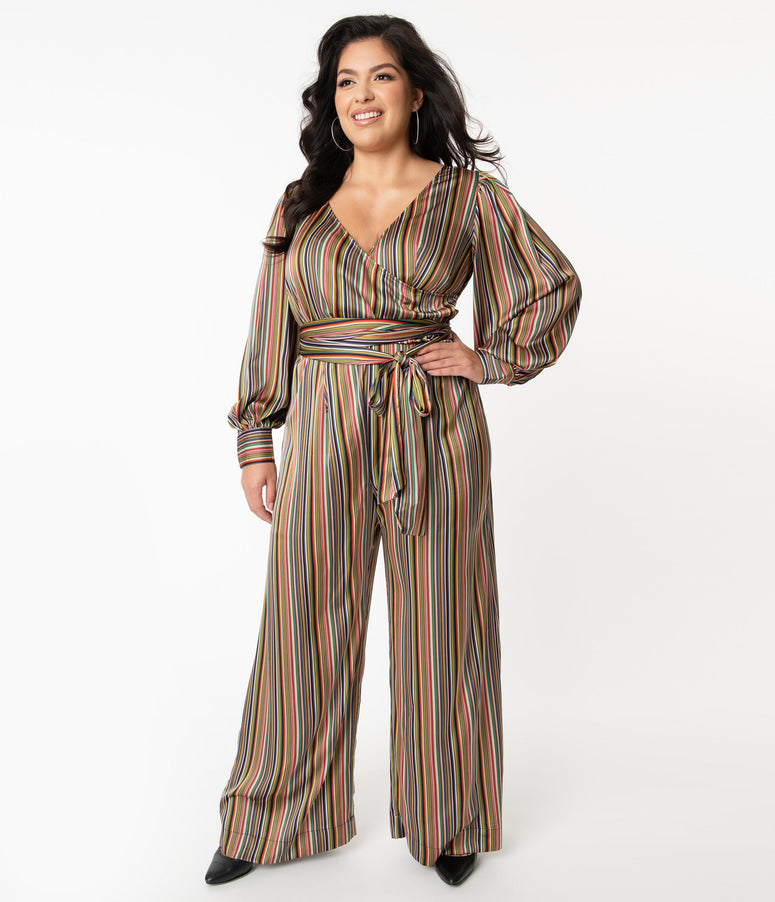 Unique Vintage Plus Size 1970s Multicolor Stripe Satin Clayton Jumpsuit