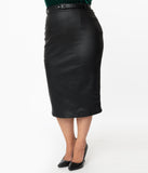 Unique Vintage Plus Size 1960s Black Vegan Leather Marcia Wiggle Skirt