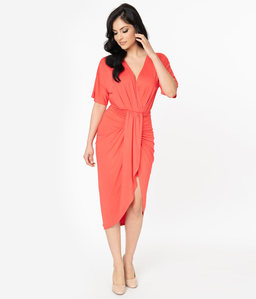 Retro Style Coral Short Sleeve Ruched Wrap Front Dress