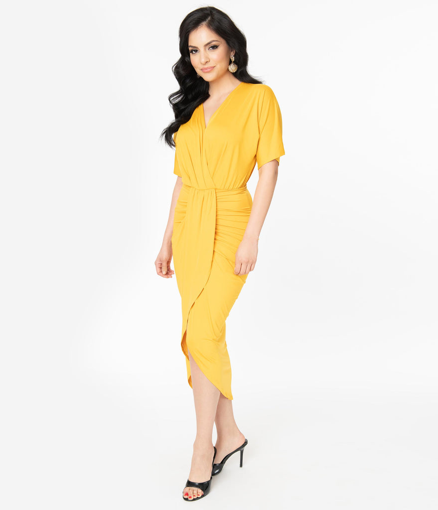 Retro Style Mustard Yellow Ruched Wrap Front Dress