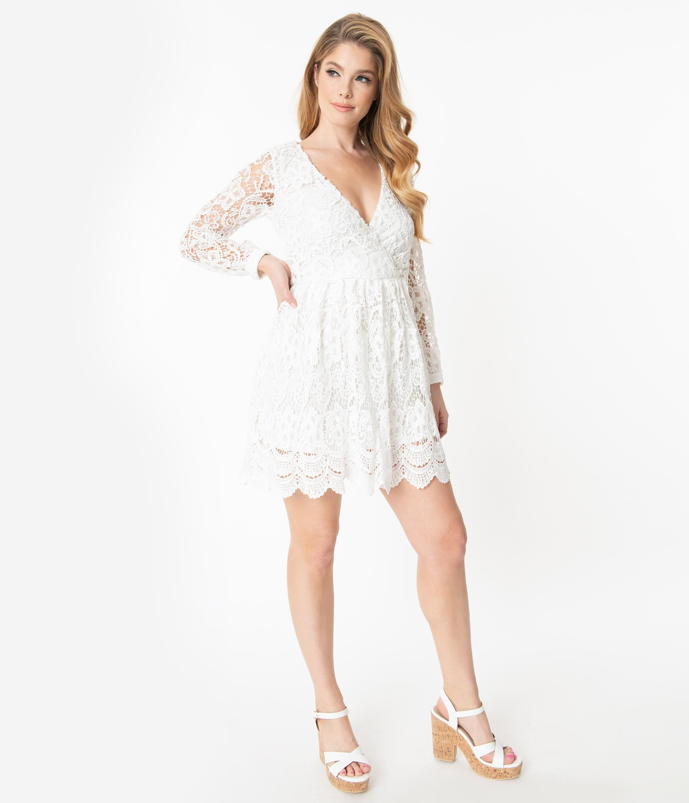 500 Vintage Style Dresses for Sale | Vintage Inspired Dresses White Crocheted Long Sleeve Dress $68.00 AT vintagedancer.com