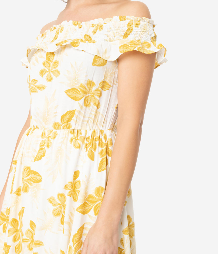 White & Mustard Floral Print Off the Shoulder Maxi Dress