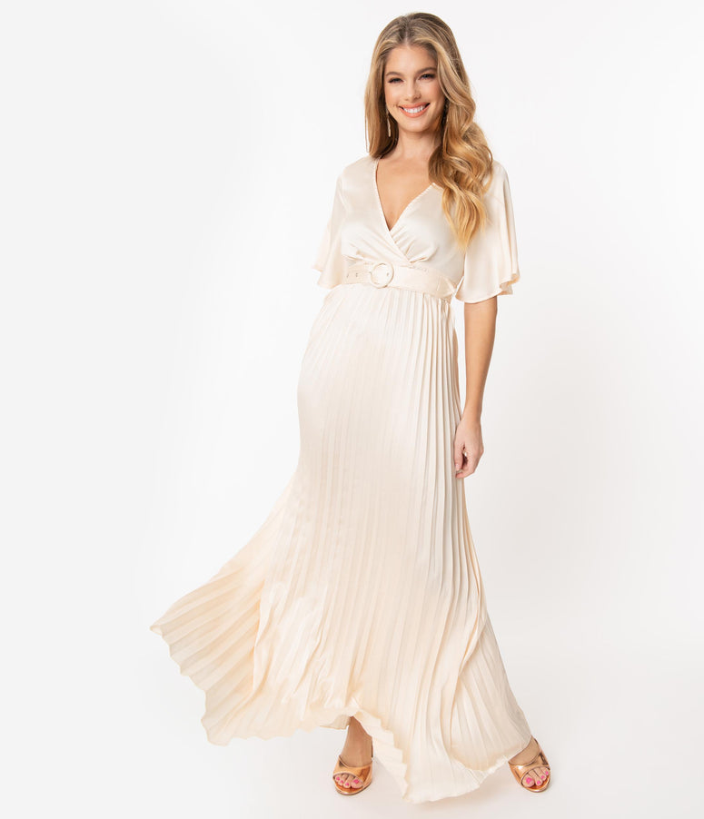 Vintage Style Champagne Pleated Maxi Dress