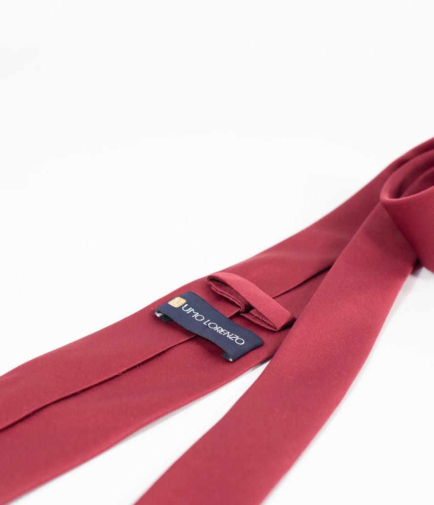 Burgundy Red Satin Mens Tie