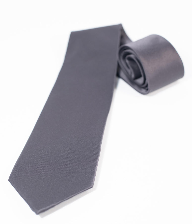 Charcoal Grey Satin Mens Tie