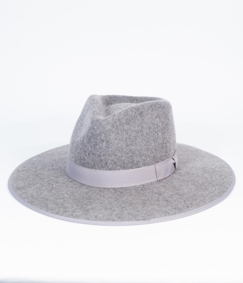 Grey Wool Wide Brim Panama Hat