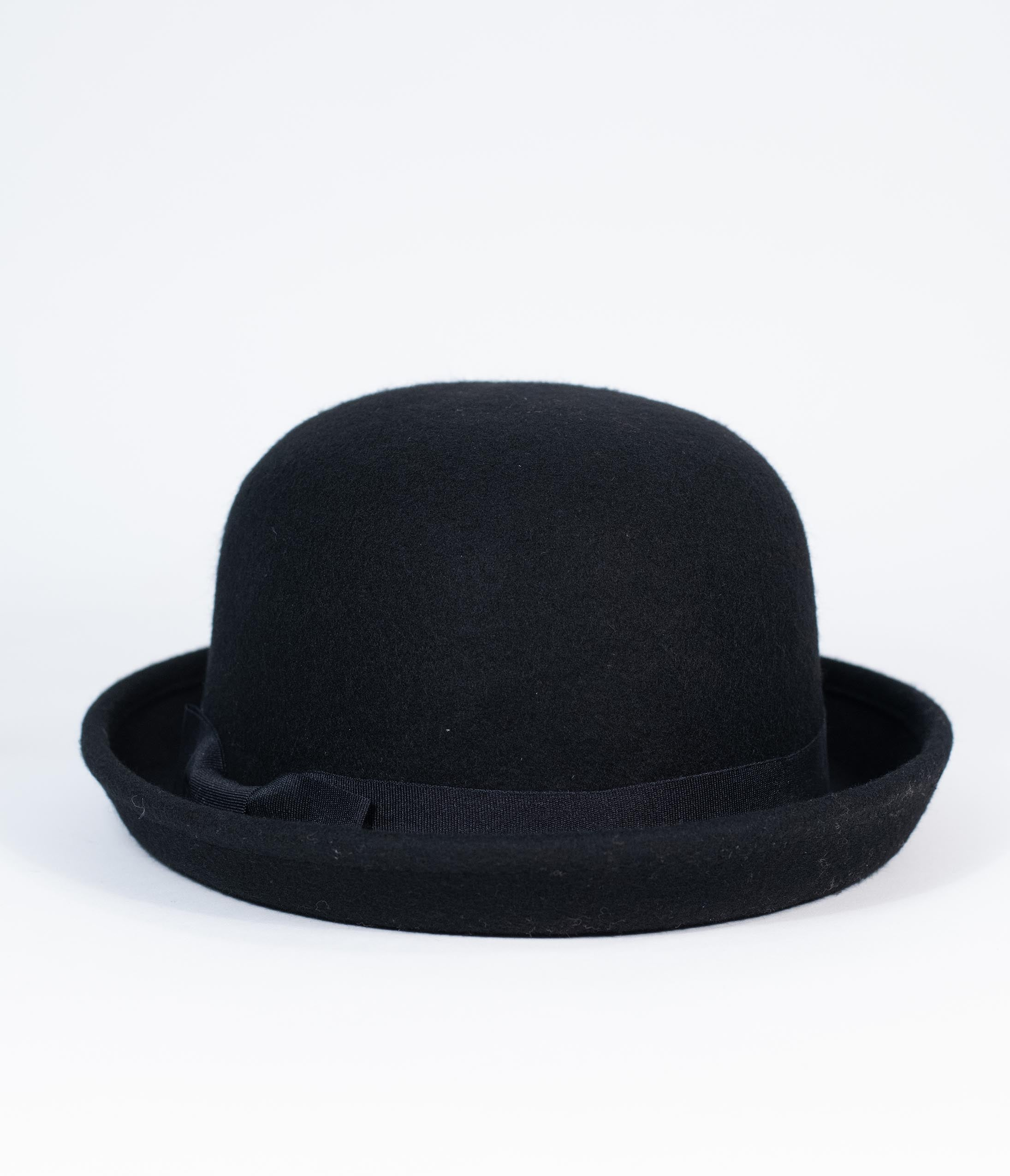 Edwardian Hats, Titanic Hats, Tea Party Hats Retro Style Black Wool Bowler Hat $46.00 AT vintagedancer.com