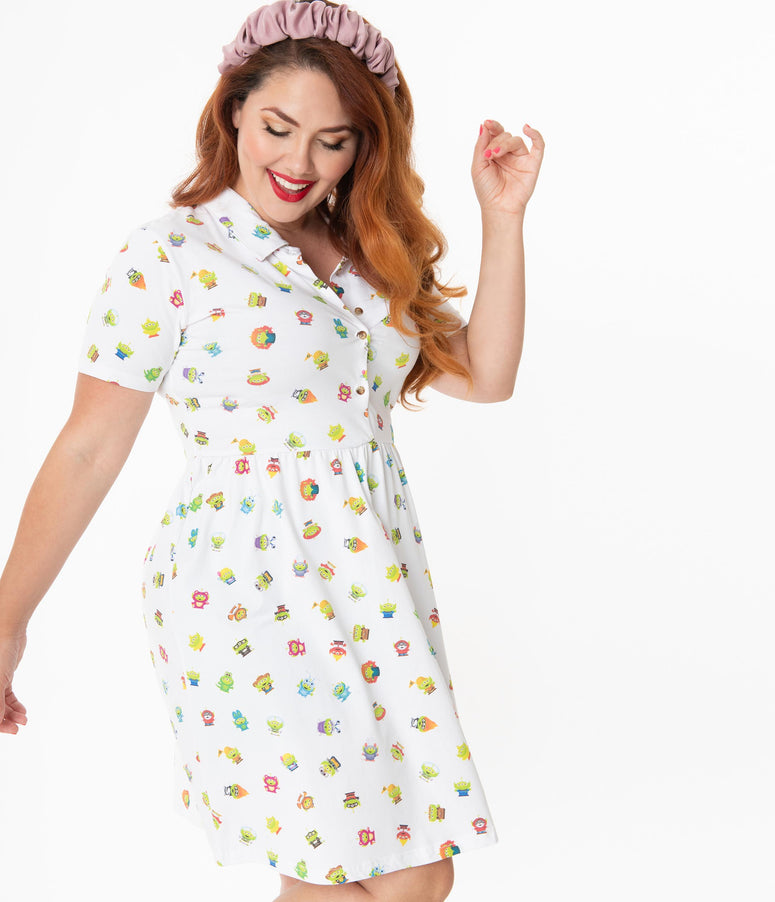 Cakeworthy Plus Size Alien Remix Print Fit & Flare Dress
