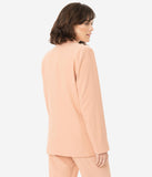 Peach Long Sleeve Button Front Blazer