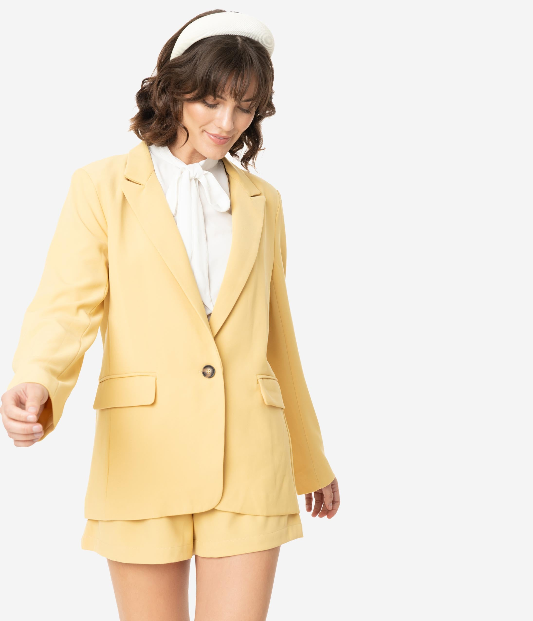 70s Jackets, Furs, Vests, Ponchos Light Yellow Long Sleeve Button Front Blazer $78.00 AT vintagedancer.com