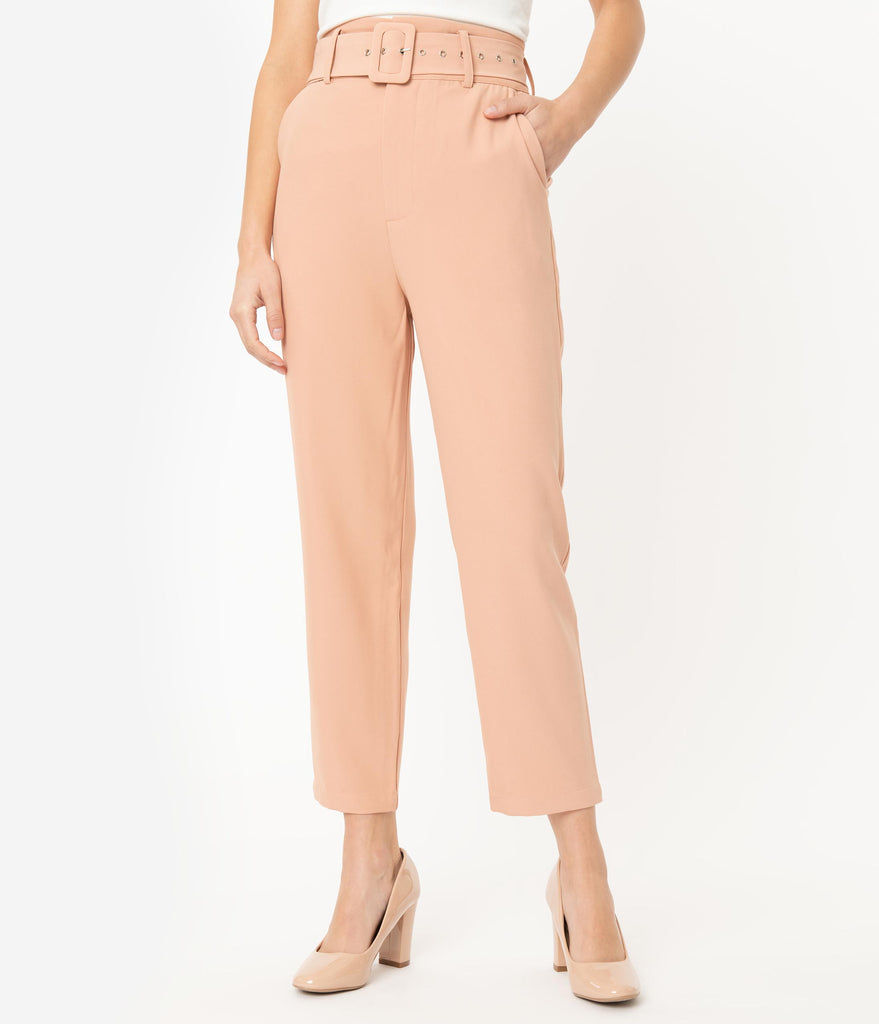 Peach High Waist Belted Ankle Length Trousers