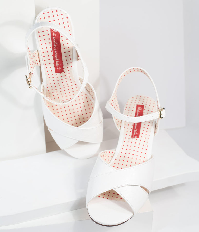 B.A.I.T. White Textured Leatherette Peep Toe Dima Wedges