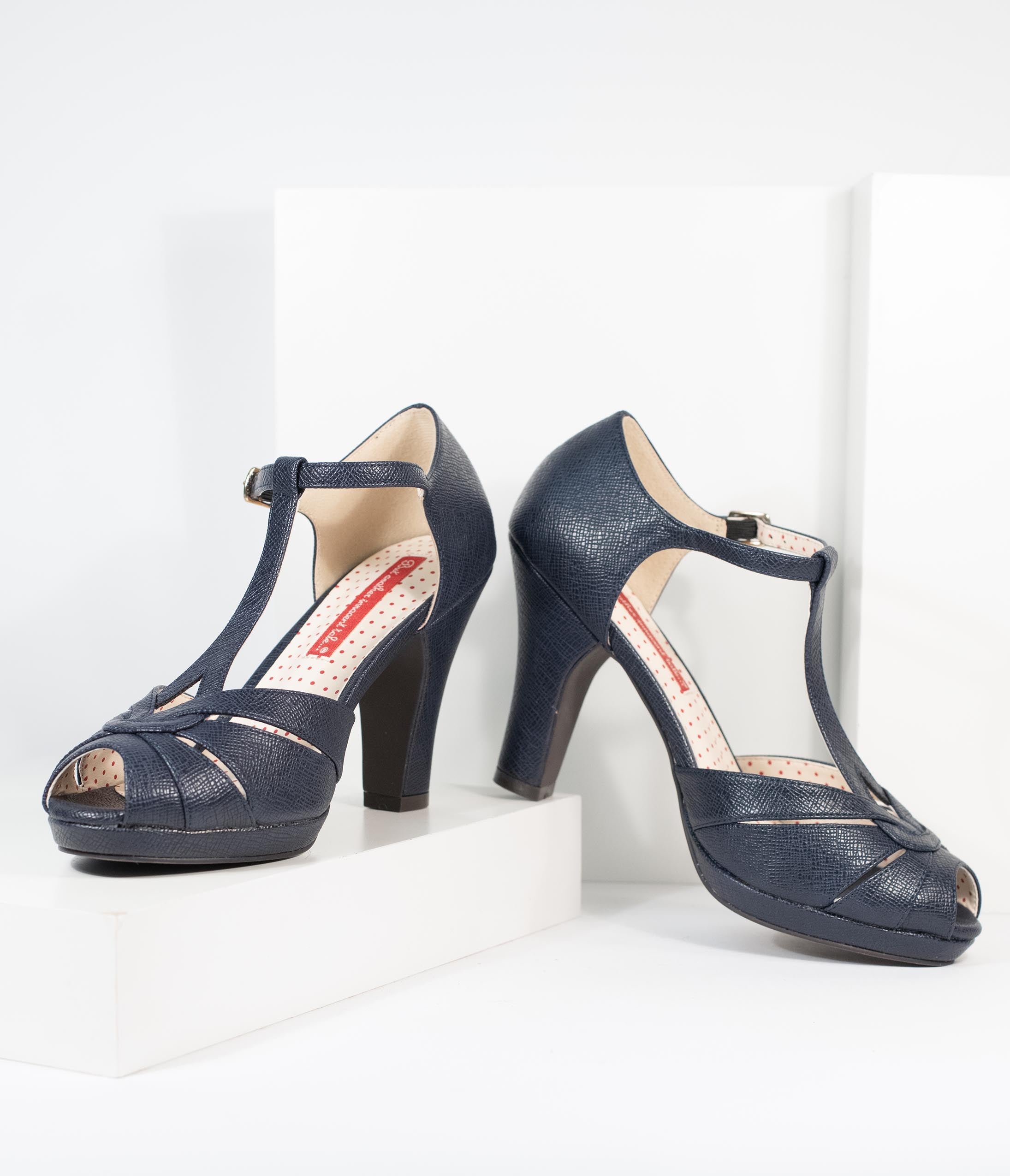 Vintage Heels, Retro Heels, Pumps, Shoes B.a.i.t. Navy Blue Textured Leatherette T-Strap Lacey Heels $80.00 AT vintagedancer.com