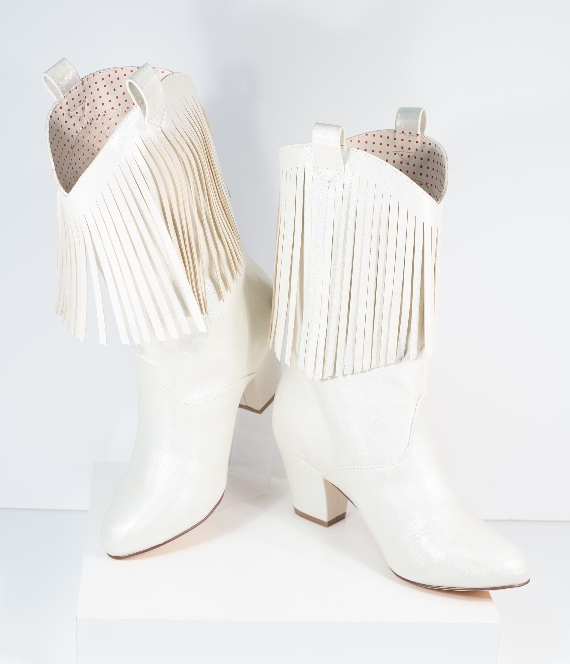 60s Shoes, Boots B.a.i.t.  Iridescent Pearl White Leatherette Hamilton Boots $130.00 AT vintagedancer.com