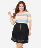 Hell Bunny Plus Size Black High Waist Hop Along Mini Skirt